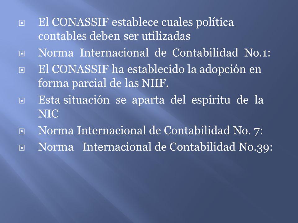 El CONASSIF establece cuales política contables deben ser utilizadas Norma Internacional de Contabilidad No.1: El CONASSIF ha establecido la adopción en forma parcial de las NIIF.