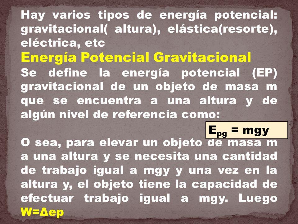 Hay varios tipos de energía potencial: gravitacional( altura), elástica(resorte), eléctrica, etc Energía Potencial Gravitacional Se define la energía
