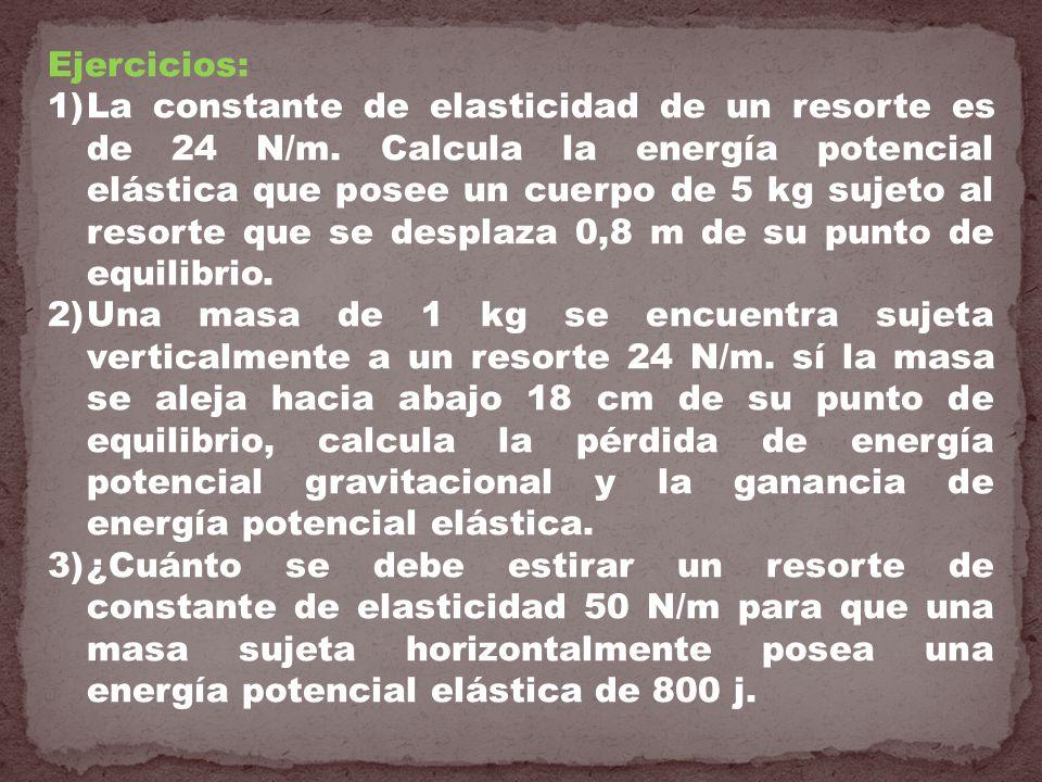 Ejercicios: 1)La constante de elasticidad de un resorte es de 24 N/m. Calcula la energía potencial elástica que posee un cuerpo de 5 kg sujeto al reso