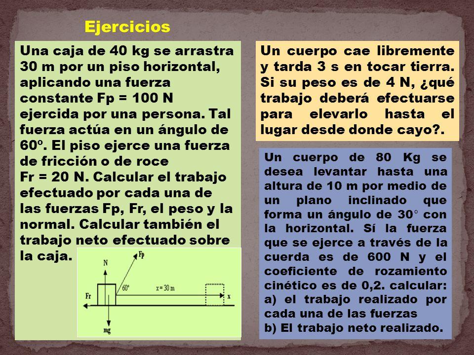 Una caja de 40 kg se arrastra 30 m por un piso horizontal, aplicando una fuerza constante Fp = 100 N ejercida por una persona. Tal fuerza actúa en un