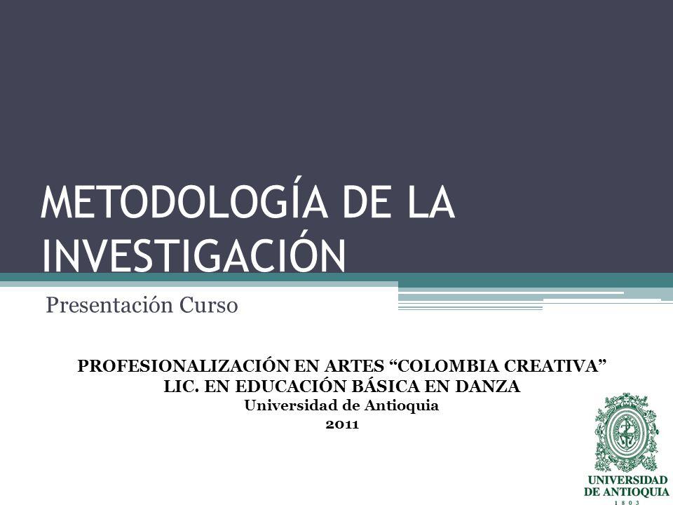 METODOLOGÍA DE LA INVESTIGACIÓN Presentación Curso PROFESIONALIZACIÓN EN ARTES COLOMBIA CREATIVA LIC.