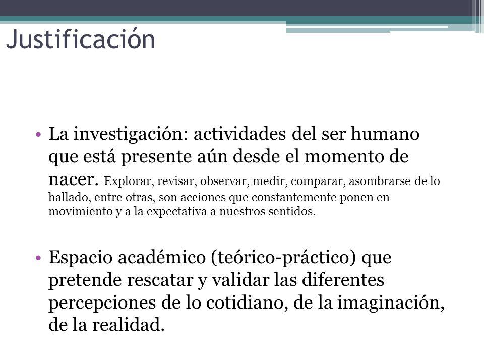 Justificación La investigación: actividades del ser humano que está presente aún desde el momento de nacer.