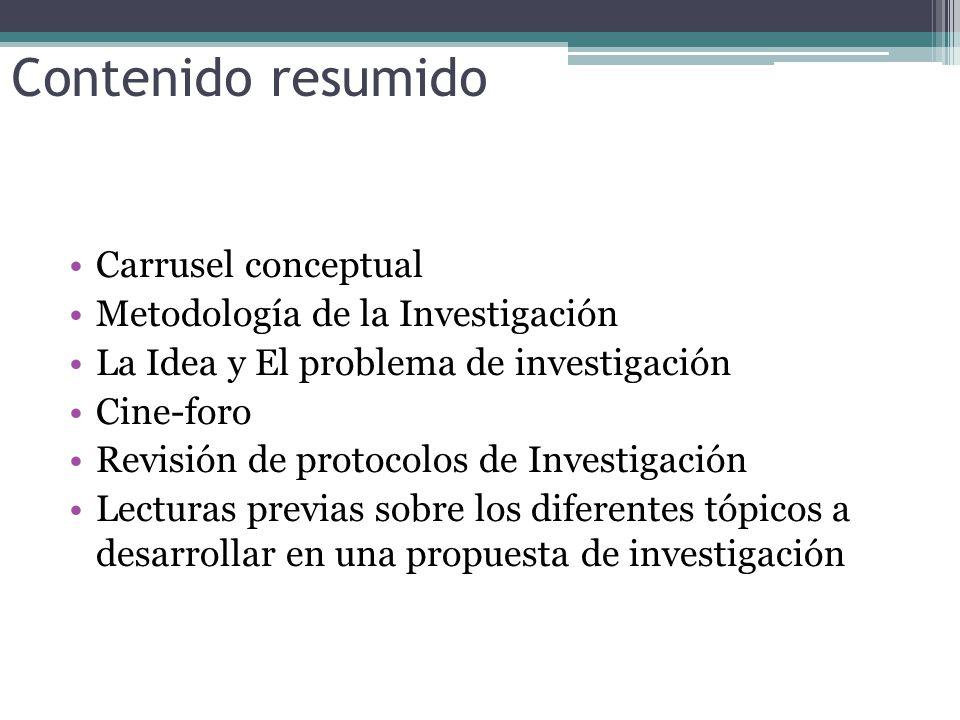 Contenido resumido Carrusel conceptual Metodología de la Investigación La Idea y El problema de investigación Cine-foro Revisión de protocolos de Investigación Lecturas previas sobre los diferentes tópicos a desarrollar en una propuesta de investigación