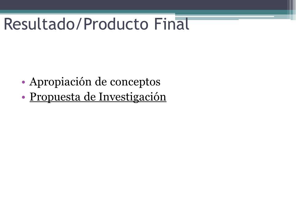 Resultado/Producto Final Apropiación de conceptos Propuesta de Investigación