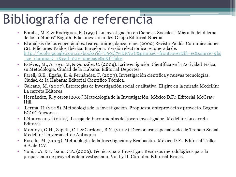 Bibliografía de referencia Bonilla, M.E.& Rodríguez, P.