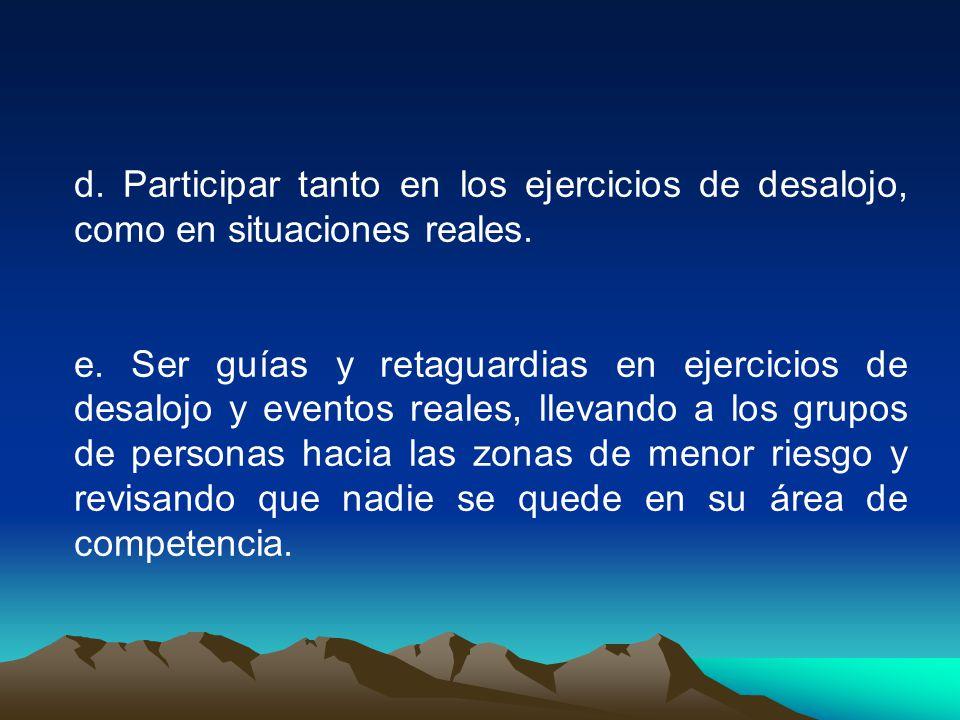 d.Participar tanto en los ejercicios de desalojo, como en situaciones reales.