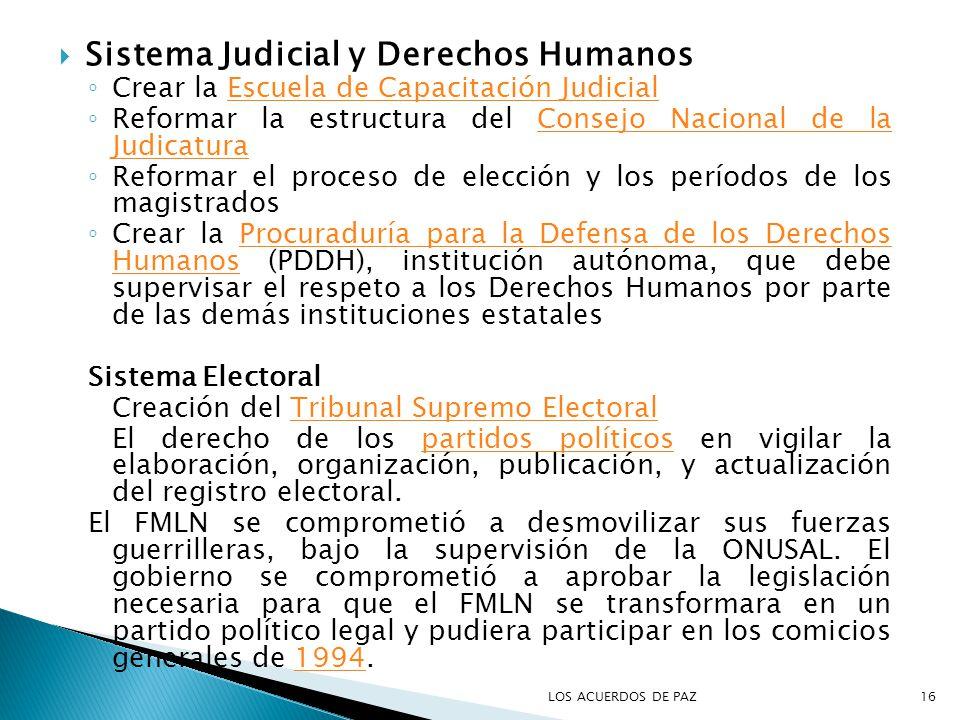 Sistema Judicial y Derechos Humanos Crear la Escuela de Capacitación JudicialEscuela de Capacitación Judicial Reformar la estructura del Consejo Nacio