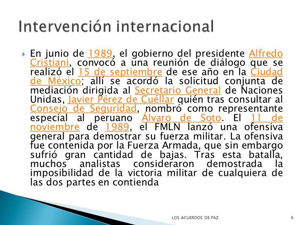 En junio de 1989, el gobierno del presidente Alfredo Cristiani, convocó a una reunión de diálogo que se realizó el 15 de septiembre de ese año en la Ciudad de México; allí se acordó la solicitud conjunta de mediación dirigida al Secretario General de Naciones Unidas, Javier Pérez de Cuéllar quién tras consultar al Consejo de Seguridad, nombró como representante especial al peruano Álvaro de Soto.