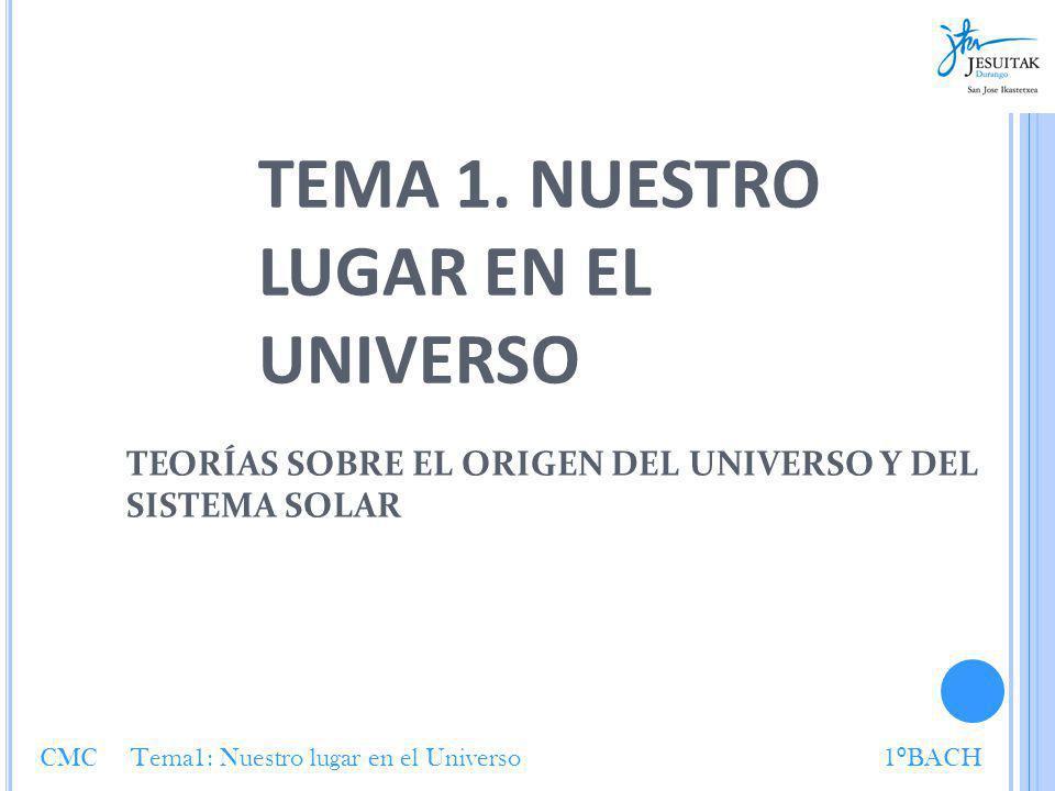 TEMA 1. NUESTRO LUGAR EN EL UNIVERSO TEORÍAS SOBRE EL ORIGEN DEL UNIVERSO Y DEL SISTEMA SOLAR CMC Tema1: Nuestro lugar en el Universo1 º BACH