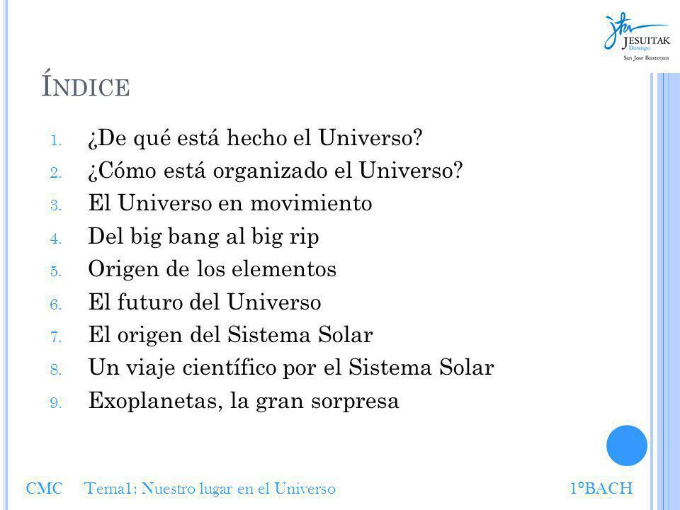 Í NDICE 1. ¿De qué está hecho el Universo? 2. ¿Cómo está organizado el Universo? 3. El Universo en movimiento 4. Del big bang al big rip 5. Origen de