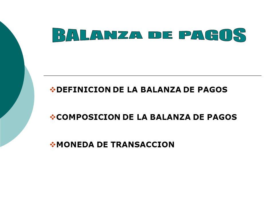 DEFINICION DE LA BALANZA DE PAGOS COMPOSICION DE LA BALANZA DE PAGOS MONEDA DE TRANSACCION