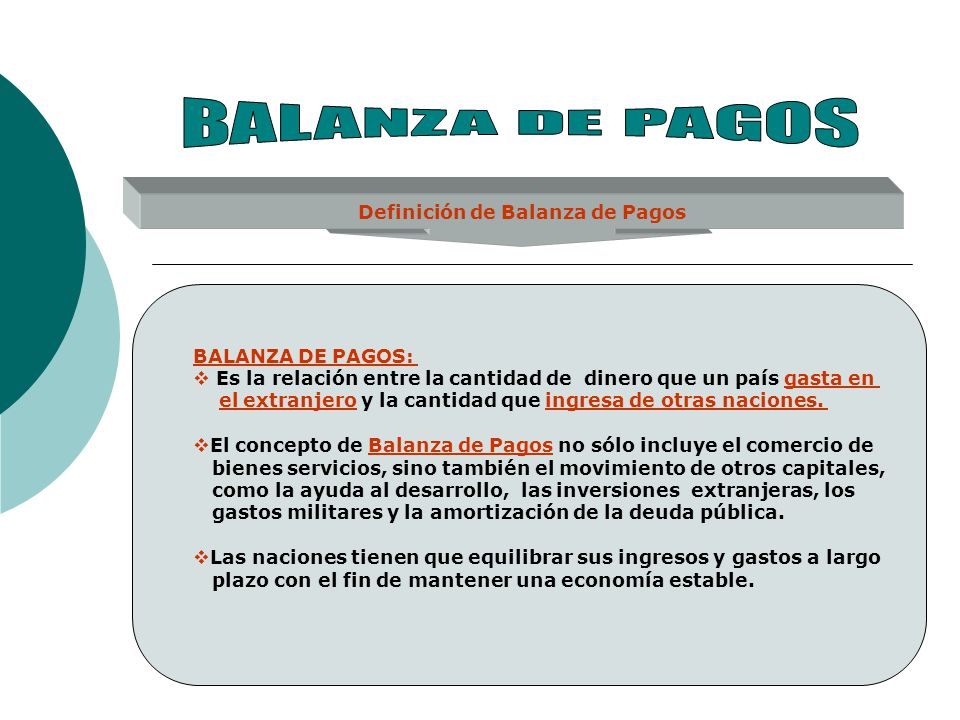 Definición de Balanza de Pagos BALANZA DE PAGOS: Es la relación entre la cantidad de dinero que un país gasta en el extranjero y la cantidad que ingre