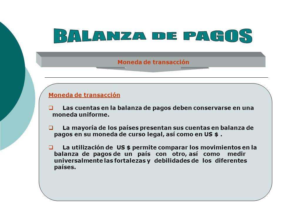 Moneda de transacción Las cuentas en la balanza de pagos deben conservarse en una moneda uniforme. La mayoría de los países presentan sus cuentas en b