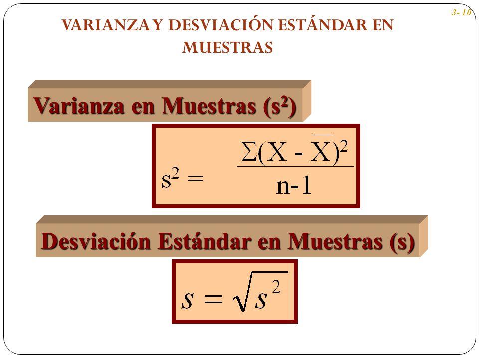 Varianza en Muestras (s 2 ) Desviación Estándar en Muestras (s) 3- 10 VARIANZA Y DESVIACIÓN ESTÁNDAR EN MUESTRAS