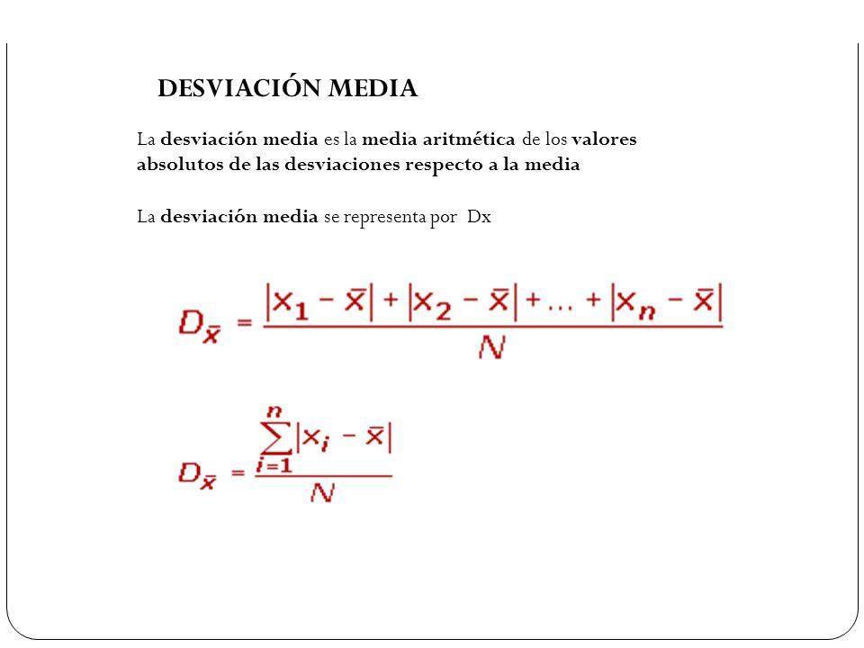 DESVIACIÓN MEDIA La desviación media es la media aritmética de los valores absolutos de las desviaciones respecto a la media La desviación media se re