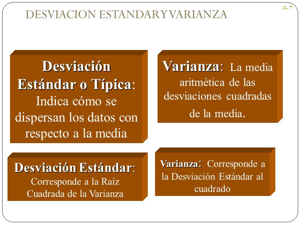 Varianza : Varianza : Corresponde a la Desviación Estándar al cuadrado Desviación Estándar o Típica Desviación Estándar o Típica: Indica cómo se dispe