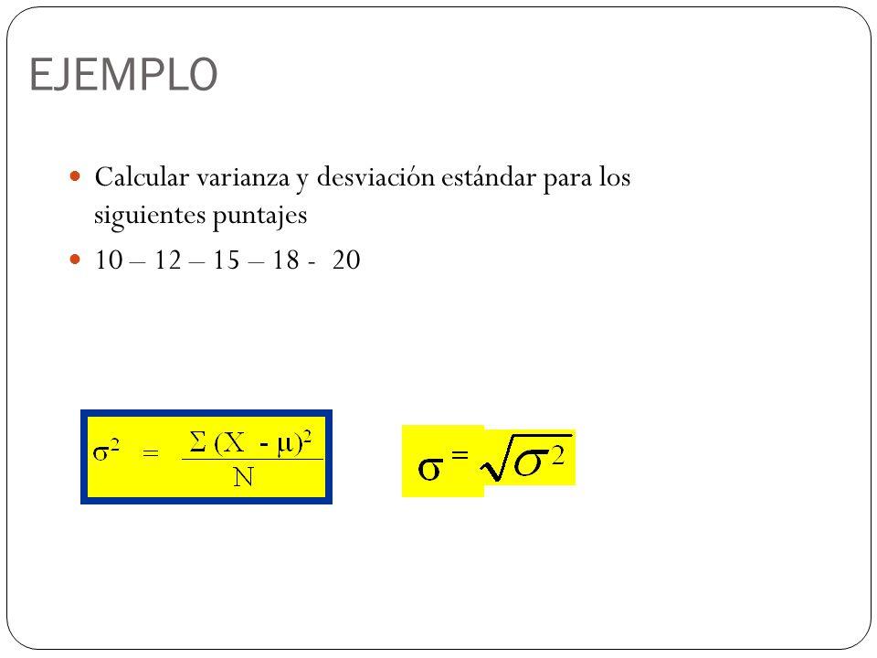 EJEMPLO Calcular varianza y desviación estándar para los siguientes puntajes 10 – 12 – 15 – 18 - 20