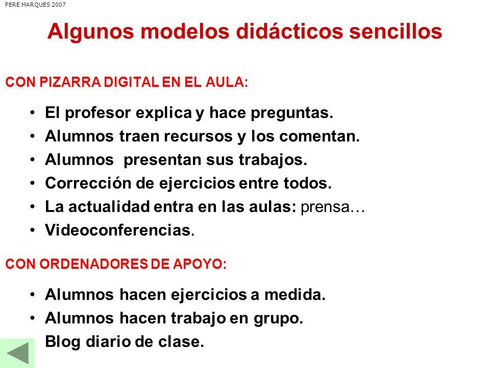 Algunos modelos didácticos sencillos CON PIZARRA DIGITAL EN EL AULA: El profesor explica y hace preguntas.