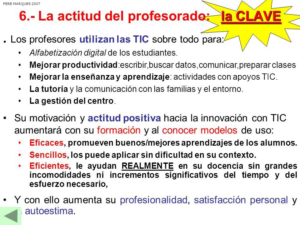 Los profesores utilizan las TIC sobre todo para: Alfabetización digital de los estudiantes.