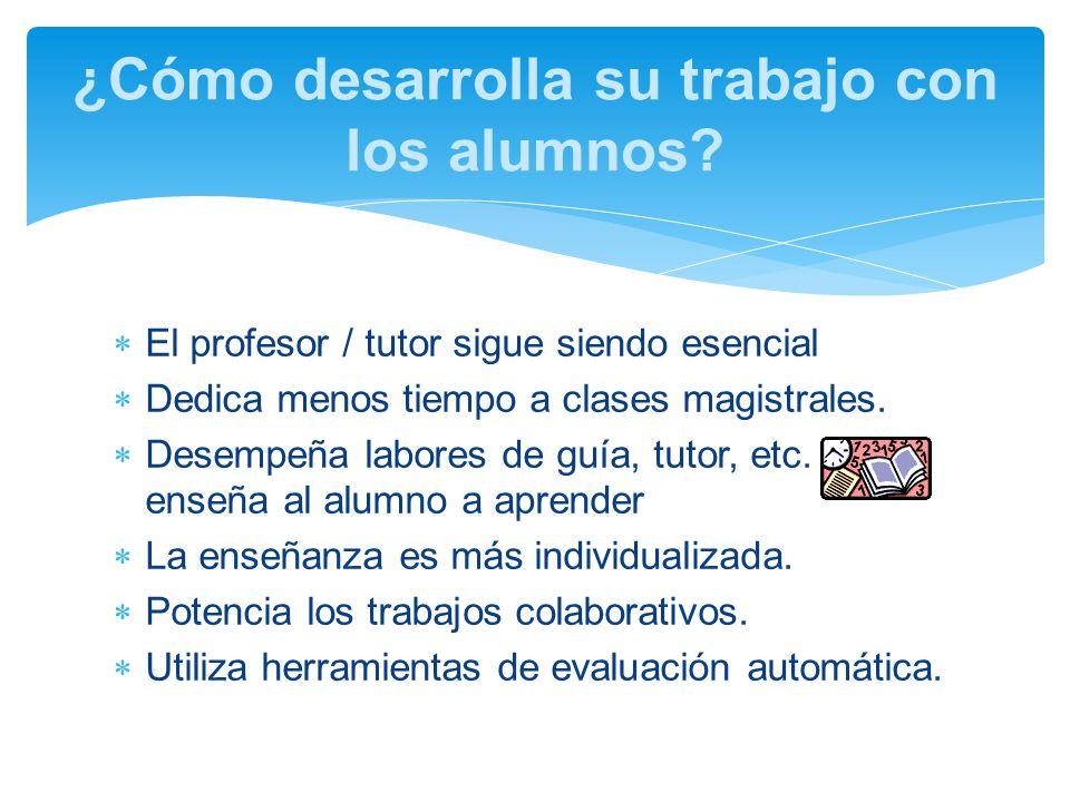 El profesor / tutor sigue siendo esencial Dedica menos tiempo a clases magistrales.