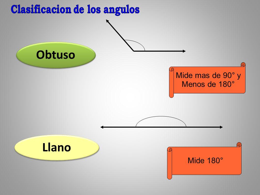 Obtuso Llano Mide mas de 90° y Menos de 180° Mide 180°
