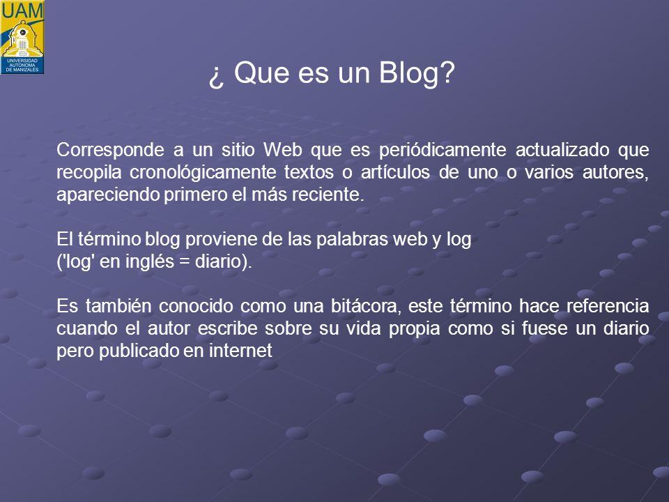 No se necesita tener elevados conocimientos técnicos Modo de uso se ha simplificado a tal punto que casi cualquier usuario es capaz de crear y administrar un blog.
