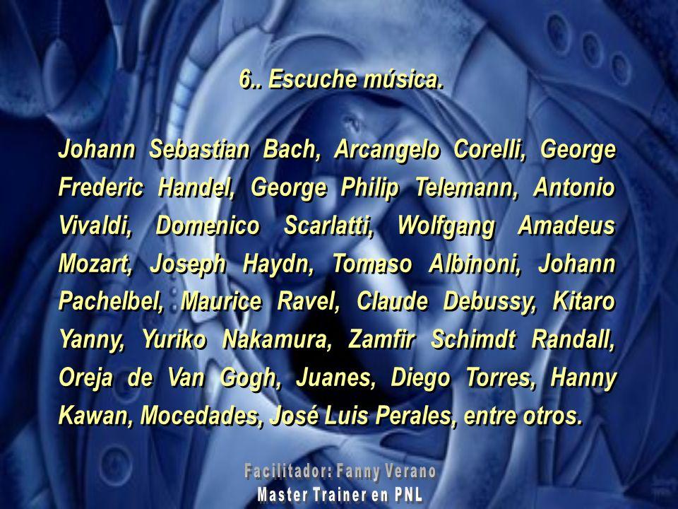 6.. Escuche música. Johann Sebastian Bach, Arcangelo Corelli, George Frederic Handel, George Philip Telemann, Antonio Vivaldi, Domenico Scarlatti, Wol