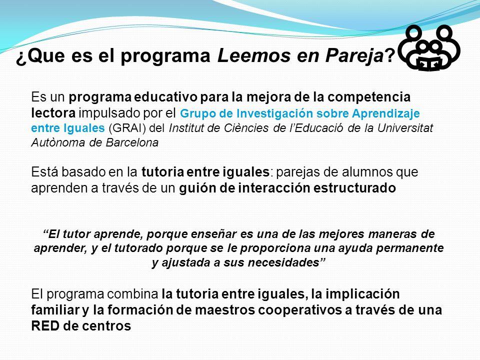 ¿Que es el programa Leemos en Pareja? Es un programa educativo para la mejora de la competencia lectora impulsado por el Grupo de Investigación sobre