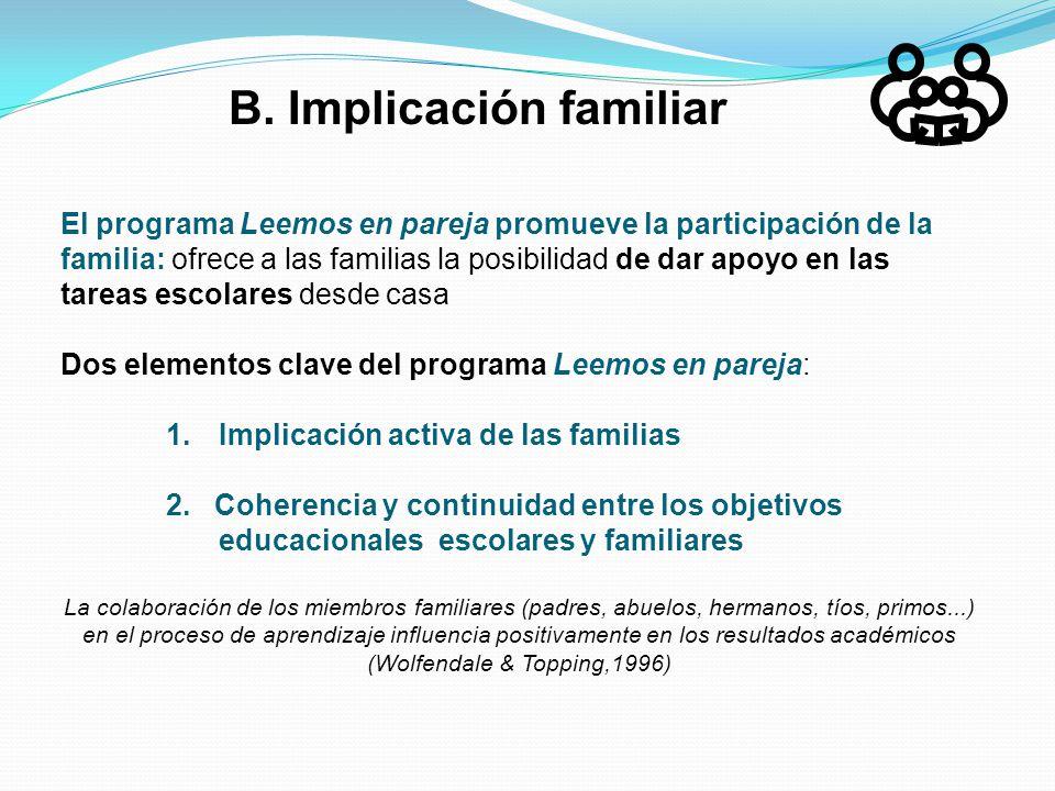 B. Implicación familiar El programa Leemos en pareja promueve la participación de la familia: ofrece a las familias la posibilidad de dar apoyo en las