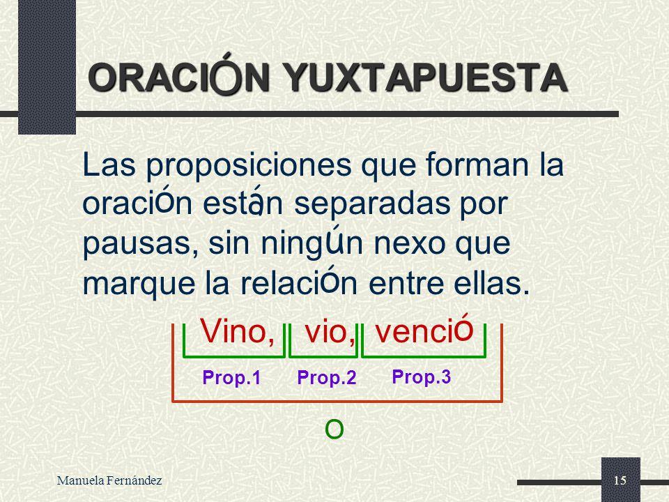 Manuela Fernández14 EXPLICATIVA Me dijo la verdad es decir no mintió Prop 2Prop 1 CI Nx SN CD N Oración comp. Coord. SV PV Sujeto 3ª sing. N CC