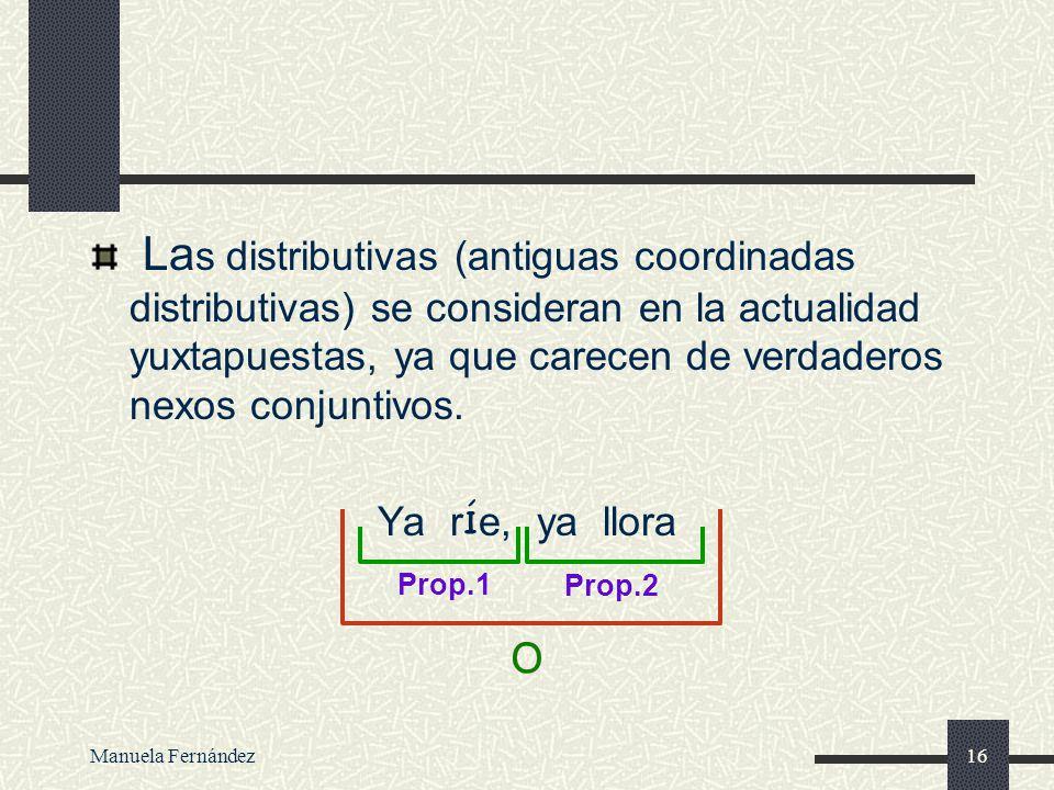Manuela Fernández15 ORACI Ó N YUXTAPUESTA Las proposiciones que forman la oraci ó n est á n separadas por pausas, sin ning ú n nexo que marque la rela