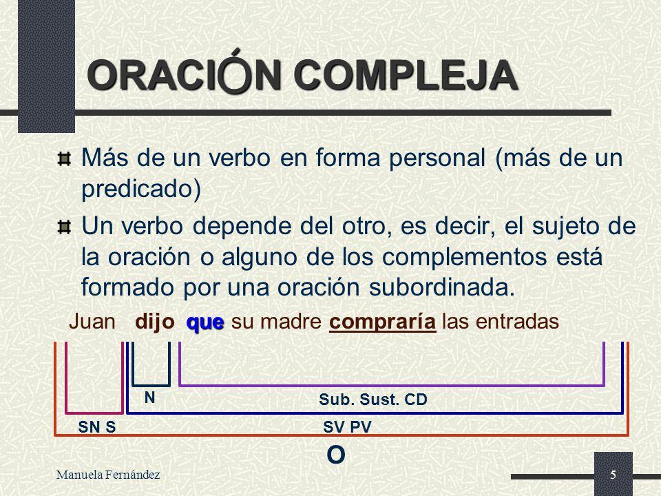 Manuela Fernández4 ORACI Ó N COMPUESTA Más de un verbo en forma personal (más de un predicado) Oraciones independientes. Los sujetos pueden coincidir.