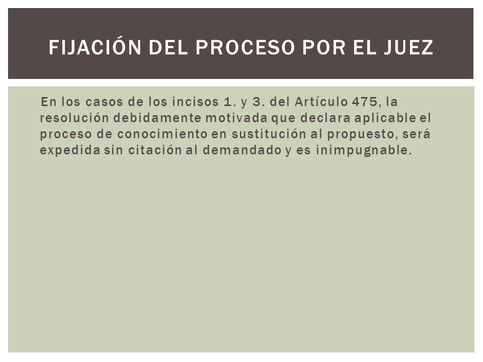 En los casos de los incisos 1. y 3. del Artículo 475, la resolución debidamente motivada que declara aplicable el proceso de conocimiento en sustituci