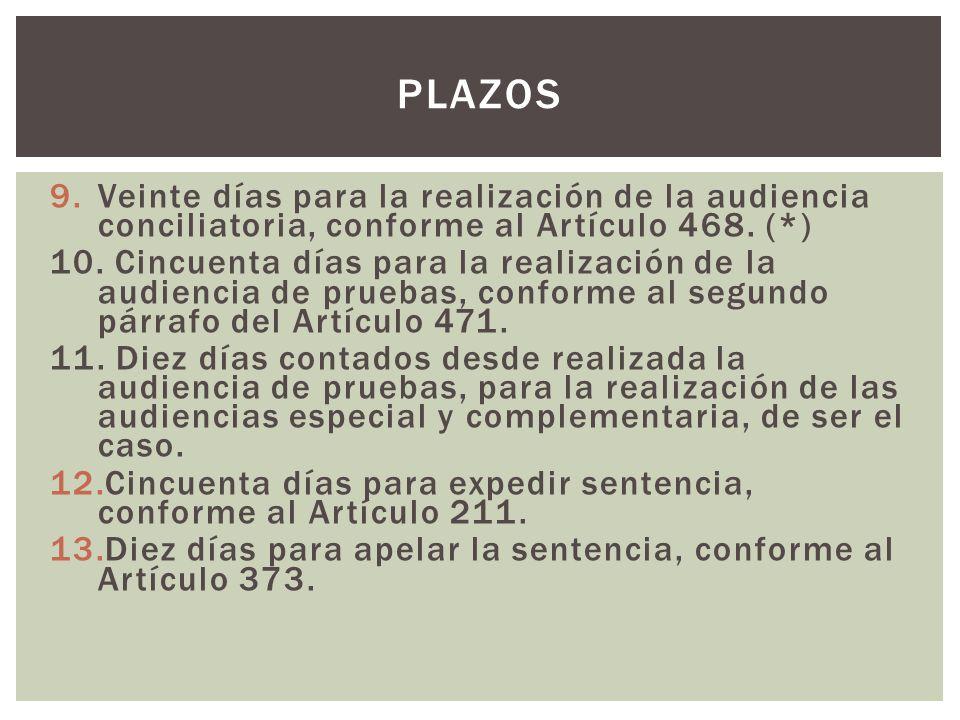 9.Veinte días para la realización de la audiencia conciliatoria, conforme al Artículo 468. (*) 10. Cincuenta días para la realización de la audiencia