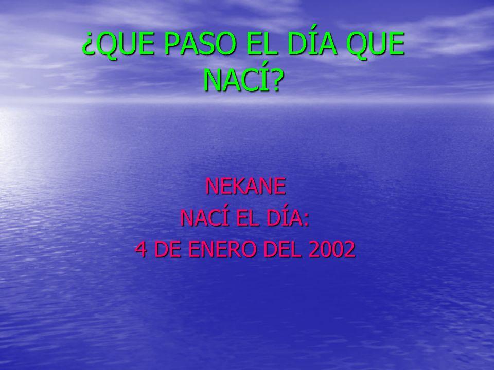 ¿QUE PASO EL DÍA QUE NACÍ? NEKANE NACÍ EL DÍA: 4 DE ENERO DEL 2002