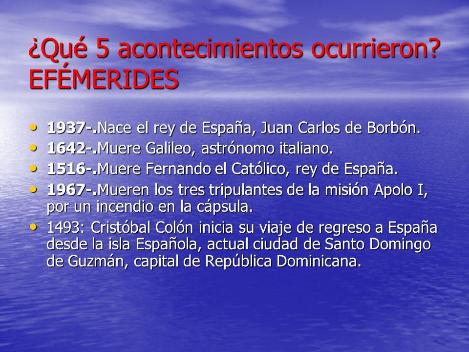 ¿Qué 5 acontecimientos ocurrieron? EFÉMERIDES 1937-.Nace el rey de España, Juan Carlos de Borbón. 1937-.Nace el rey de España, Juan Carlos de Borbón.