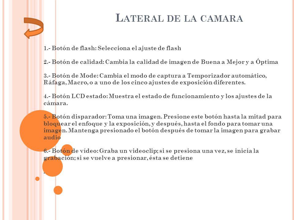 1.- Botón de flash: Selecciona el ajuste de flash 2.- Botón de calidad: Cambia la calidad de imagen de Buena a Mejor y a Óptima 3.- Botón de Mode: Cam