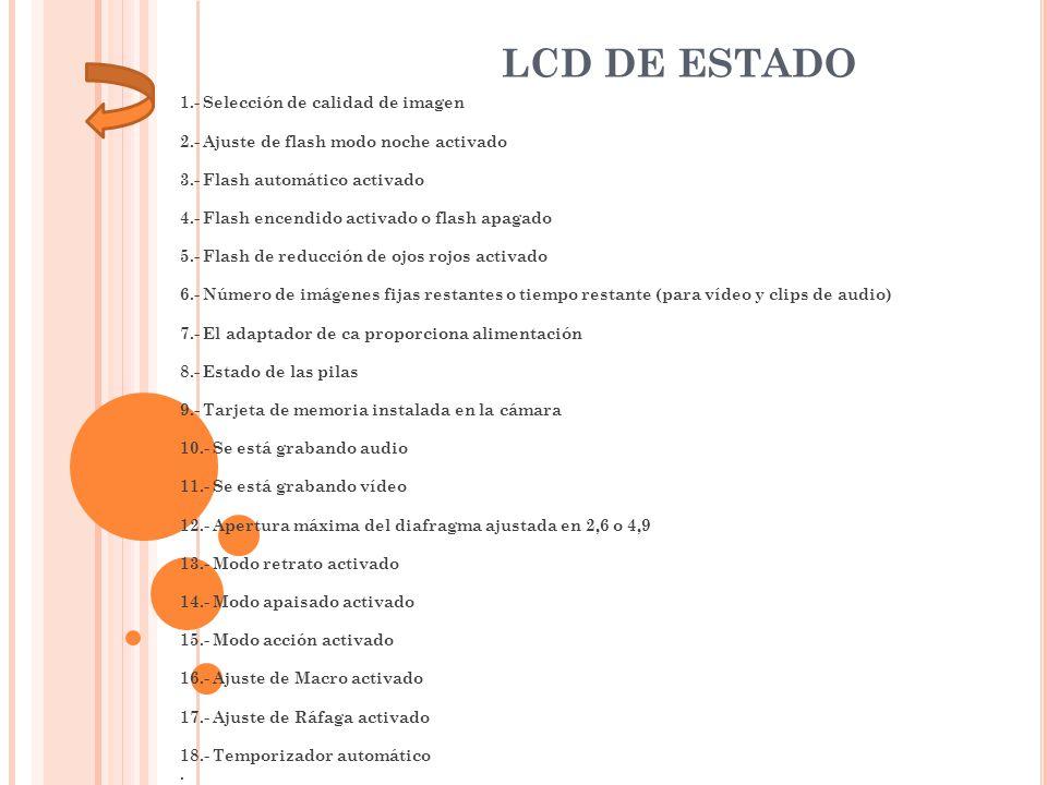 1.- Selección de calidad de imagen 2.- Ajuste de flash modo noche activado 3.- Flash automático activado 4.- Flash encendido activado o flash apagado