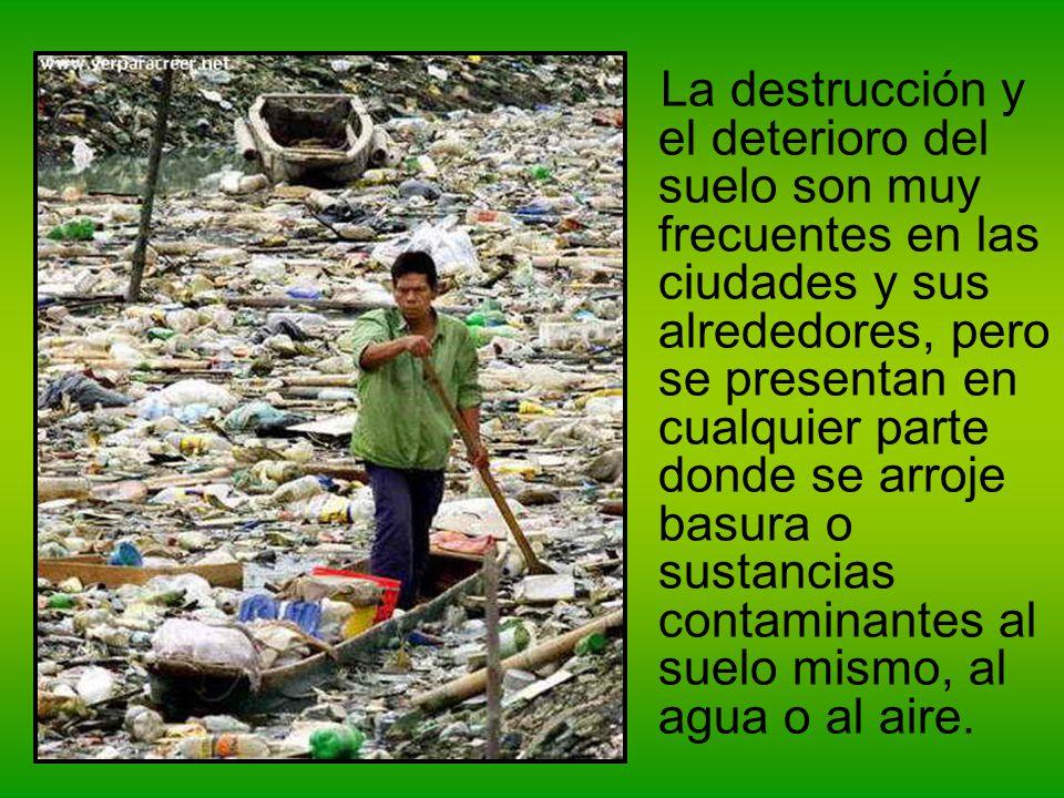 La destrucción y el deterioro del suelo son muy frecuentes en las ciudades y sus alrededores, pero se presentan en cualquier parte donde se arroje bas