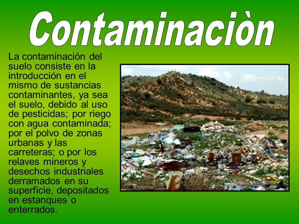 La contaminación del suelo consiste en la introducción en el mismo de sustancias contaminantes, ya sea el suelo, debido al uso de pesticidas; por rieg