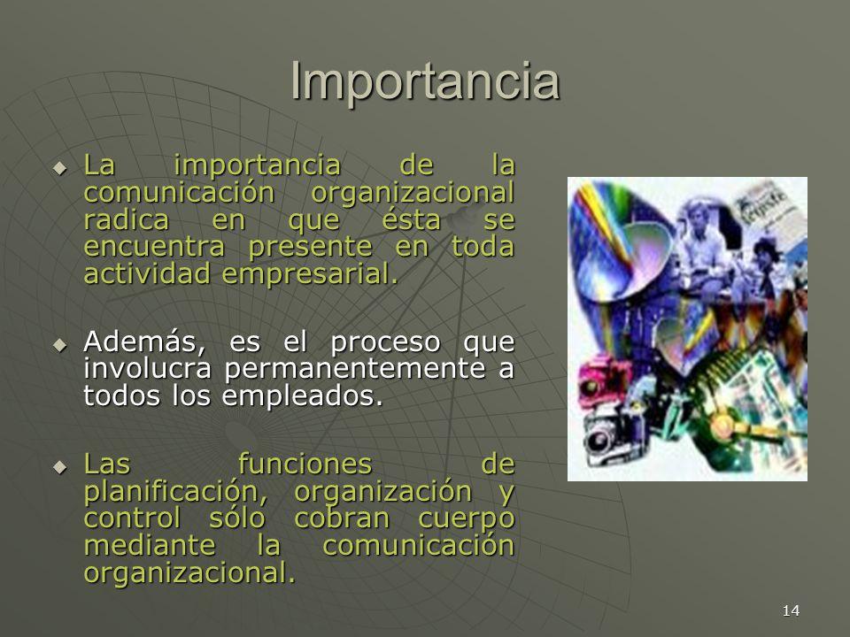 14 Importancia La importancia de la comunicación organizacional radica en que ésta se encuentra presente en toda actividad empresarial.