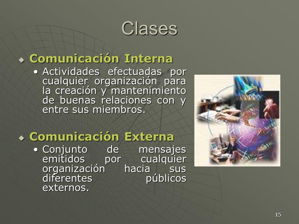15 Clases Comunicación Interna Comunicación Interna Actividades efectuadas por cualquier organización para la creación y mantenimiento de buenas relaciones con y entre sus miembros.Actividades efectuadas por cualquier organización para la creación y mantenimiento de buenas relaciones con y entre sus miembros.