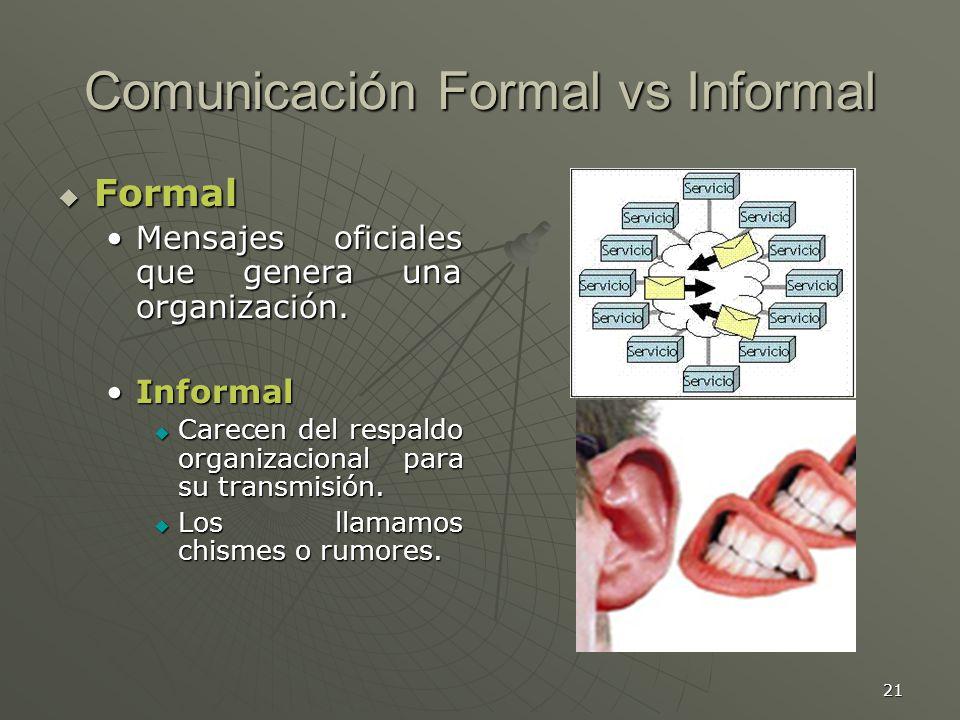 21 Comunicación Formal vs Informal Formal Formal Mensajes oficiales que genera una organización.Mensajes oficiales que genera una organización.
