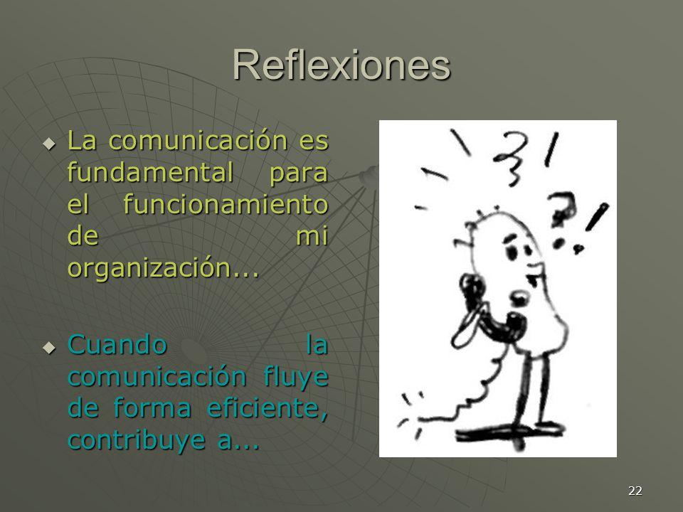 22 Reflexiones La comunicación es fundamental para el funcionamiento de mi organización...