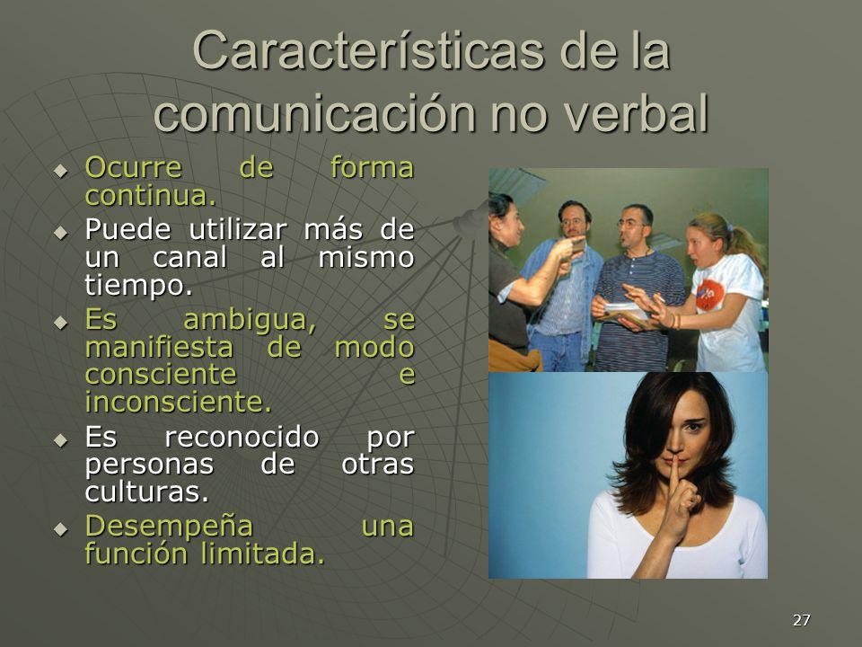27 Características de la comunicación no verbal Ocurre de forma continua.