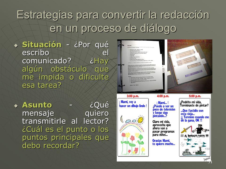 31 Estrategias para convertir la redacción en un proceso de diálogo Situación - ¿Por qué escribo el comunicado.