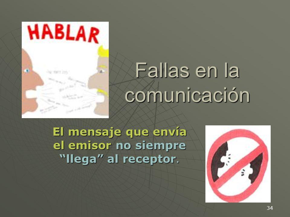 34 Fallas en la comunicación El mensaje que envía el emisor no siempre llega al receptor.