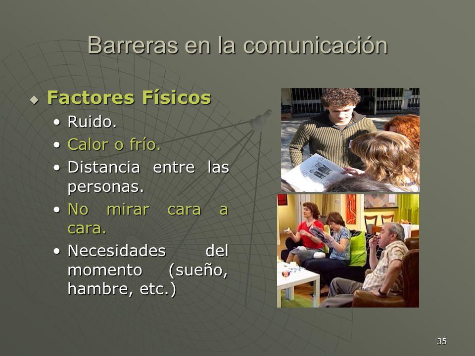 35 Barreras en la comunicación Factores Físicos Factores Físicos Ruido.Ruido.