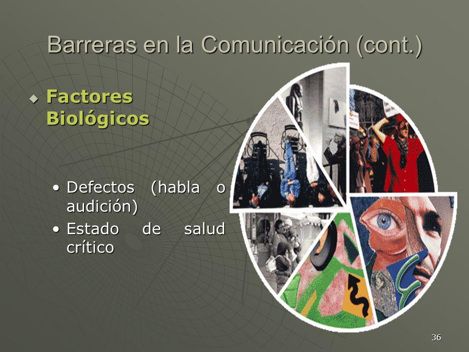 36 Barreras en la Comunicación (cont.) Factores Biológicos Factores Biológicos Defectos (habla o audición)Defectos (habla o audición) Estado de salud críticoEstado de salud crítico