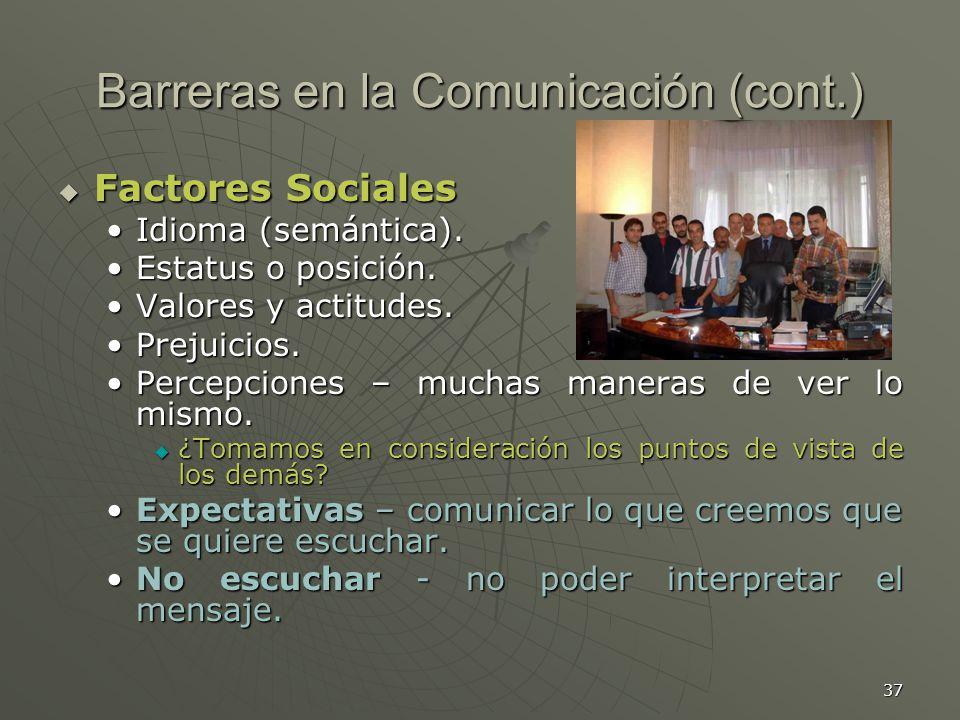 37 Barreras en la Comunicación (cont.) Factores Sociales Factores Sociales Idioma (semántica).Idioma (semántica).